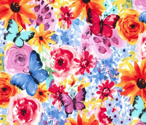 Michael Miller Garden Party Big Bang Blooms Flowers Butterfly Multi Cotton Fabric