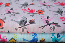Michael Miller La Dee Da Bird Dee Da Bird & Birdhouse Pink Blue Cotton Fabric
