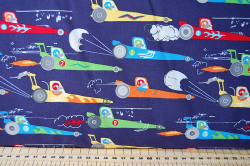 Michael Miller Traffic Jam Rat Race Redux Dragster Cotton Fabric Navy