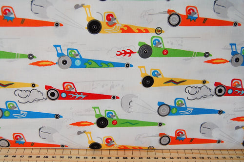 Michael Miller Traffic Jam Rat Race Redux Dragster Cotton Fabric White