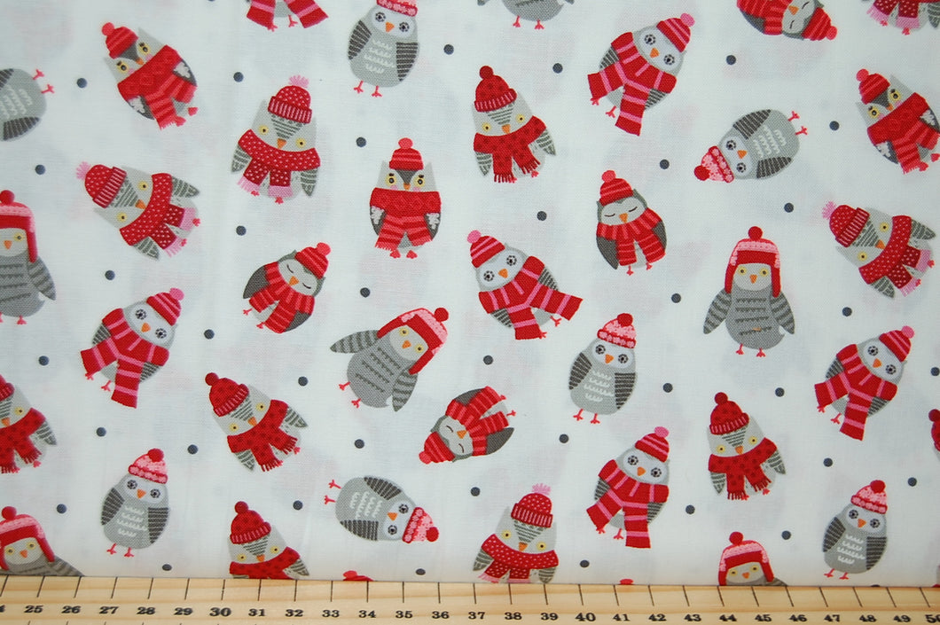 Natalie Alex for Studio E Christmas Holiday Woodland Creatures Jumpers Hats Scarves Reindeer Racoon Bear Rabbit Bunny Fox Bird Cardinal Hedgehog Owl Cotton Fabric Fat Quarter
