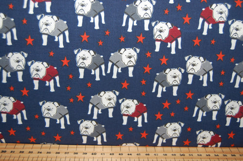 Sewing Quilting Sew Fat Quarter Cotton Quilt Patchwork Dressmaking My Minds Eye Riley Blake Hey Mister Bulldog Dog Boxer Staffy Staffordshire Bull Terrier Glasses Spectacles English British (2)