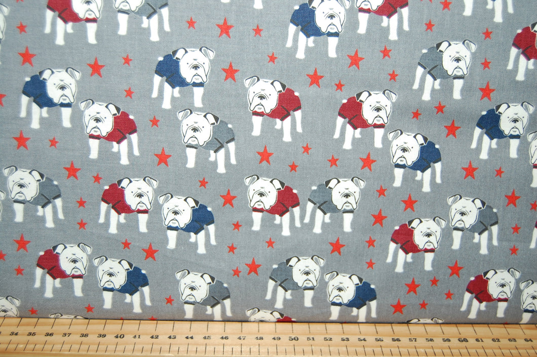 Sewing Quilting Sew Fat Quarter Cotton Quilt Patchwork Dressmaking My Minds Eye Riley Blake Hey Mister Bulldog Dog Boxer Staffy Staffordshire Bull Terrier Glasses Spectacles English British (3)