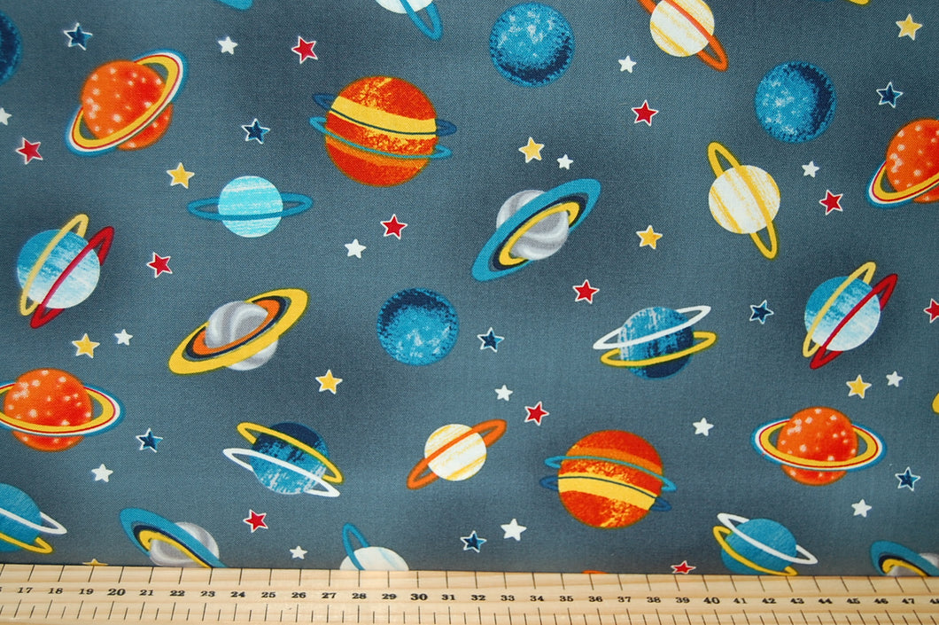 Swizzle Stick Studio for Studio E Space Adventure Spaceman Planet Spaceship Cotton Fat Quarter Bundle Blue Grey