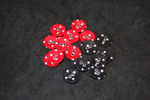 Trimits Buttons Fabric 2 Hole 15mm Polka Dot Red Black White