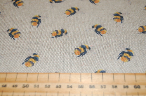 Linen Look Digital Print Small Bumble Bees Natural