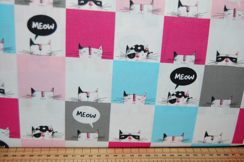 fabric shack sewing quilting sew fat quarter cotton quilt patchwork 3 three wishes cool cat club swag robber kitty kitten meow blocks fish bones paw prints strips cats rule (2)