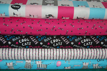 fabric shack sewing quilting sew fat quarter cotton quilt patchwork 3 three wishes cool cat club swag robber kitty kitten meow blocks fish bones paw prints strips cats rule light blue