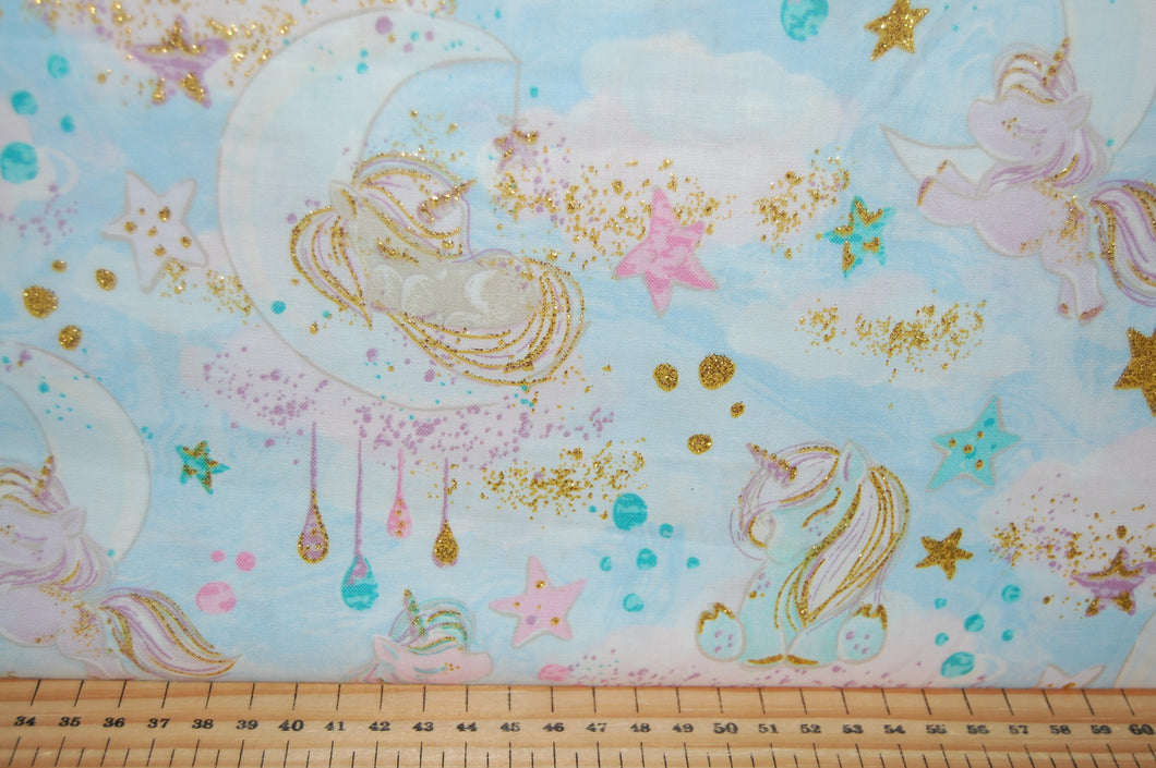 fabric shack sewing quilting sew fat quarter cotton quilt patchwork 3 three wishes unicorn sparkle unicorns clouds moon stars metallic gold light blue pink pastels (2)
