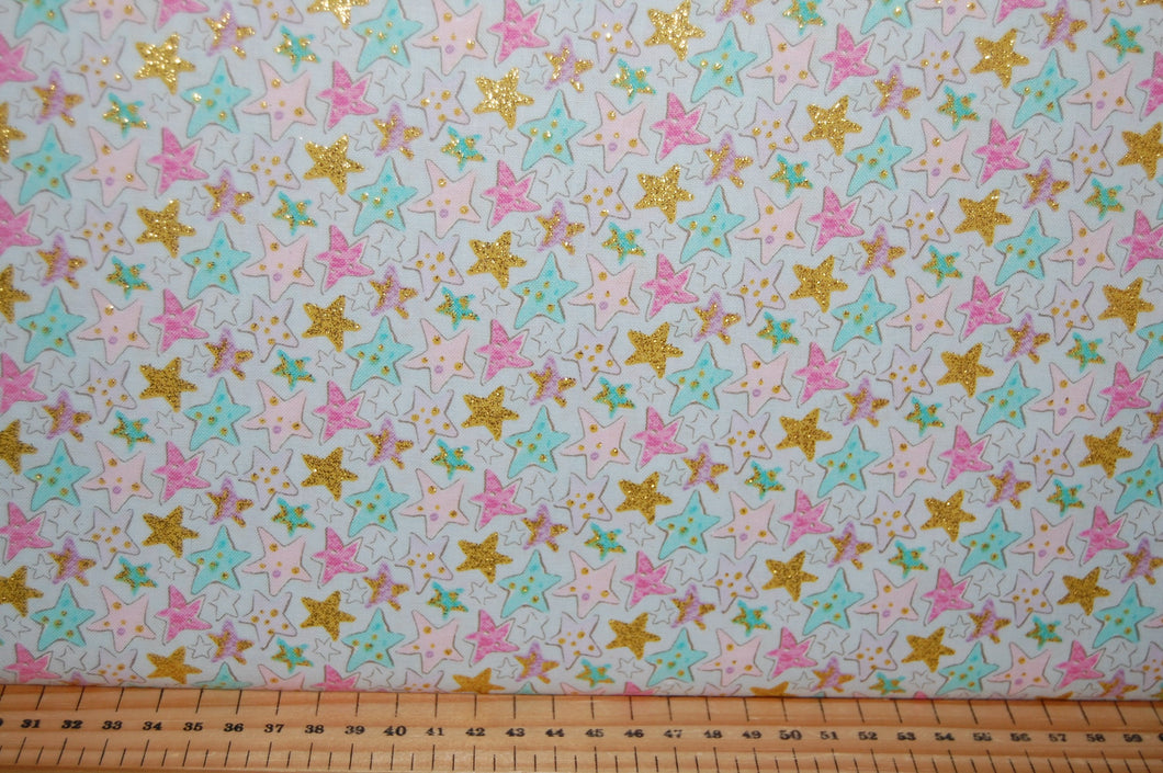 fabric shack sewing quilting sew fat quarter cotton quilt patchwork 3 three wishes unicorn sparkle unicorns clouds moon stars metallic gold light blue pink pastels (3)