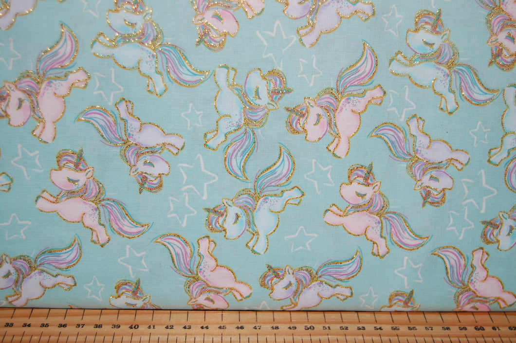 fabric shack sewing quilting sew fat quarter cotton quilt patchwork 3 three wishes unicorn sparkle unicorns clouds moon stars metallic gold light blue pink pastels (4)