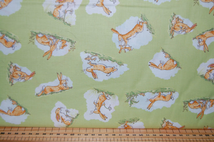 fabric shack sewing quilting sew fat quarter cotton quilt patchwork anita jeram clothworks guess how much I love you when I'm im big rabbit bunny bunnies frogs daffodils (4)