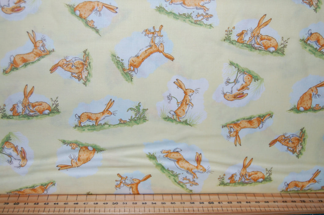 fabric shack sewing quilting sew fat quarter cotton quilt patchwork anita jeram clothworks guess how much I love you when I'm im big rabbit bunny bunnies frogs daffodils (6)