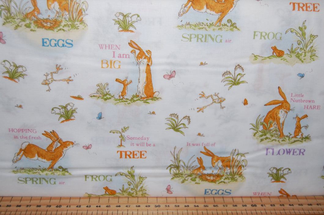 fabric shack sewing quilting sew fat quarter cotton quilt patchwork anita jeram clothworks guess how much I love you when I'm im big rabbit bunny bunnies frogs daffodils (7)