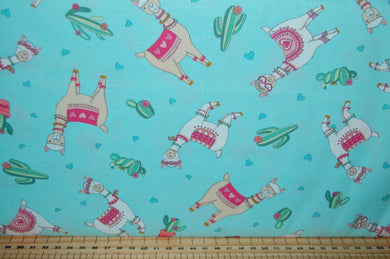 fabric shack sewing quilting sew fat quarter cotton quilt patchwork deb strain moda llama love hearts valentine valentines day cactus flower floral bunting pink white aqua blue (3)