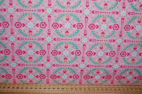 fabric shack sewing quilting sew fat quarter cotton quilt patchwork deb strain moda llama love hearts valentine valentines day cactus flower floral bunting pink white aqua blue (4)