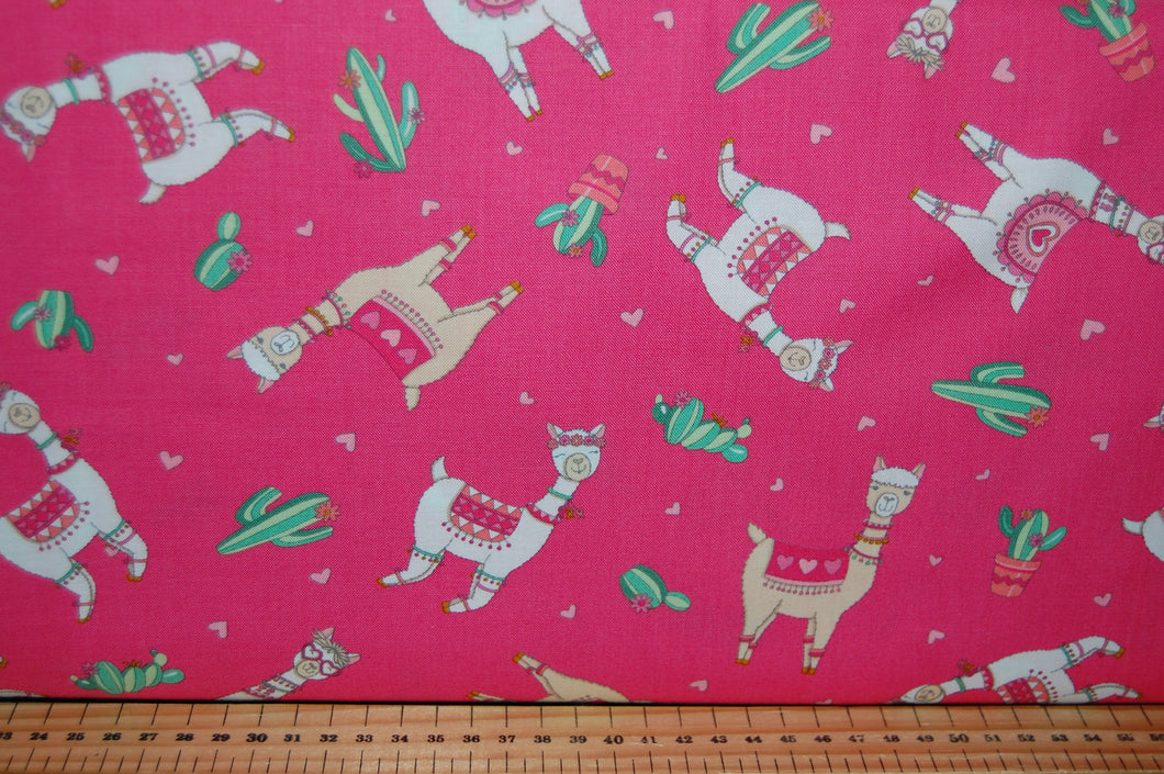 fabric shack sewing quilting sew fat quarter cotton quilt patchwork deb strain moda llama love hearts valentine valentines day cactus flower floral bunting pink white aqua blue (6)