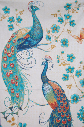 fabric shack sewing quilting sew fat quarter cotton quilt patchwork delphine corbin blank peacock pavillion tail eye feather panel blue