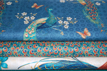 fabric shack sewing quilting sew fat quarter cotton quilt patchwork delphine corbin blank peacock pavillion tail eye feather panel blue (5)