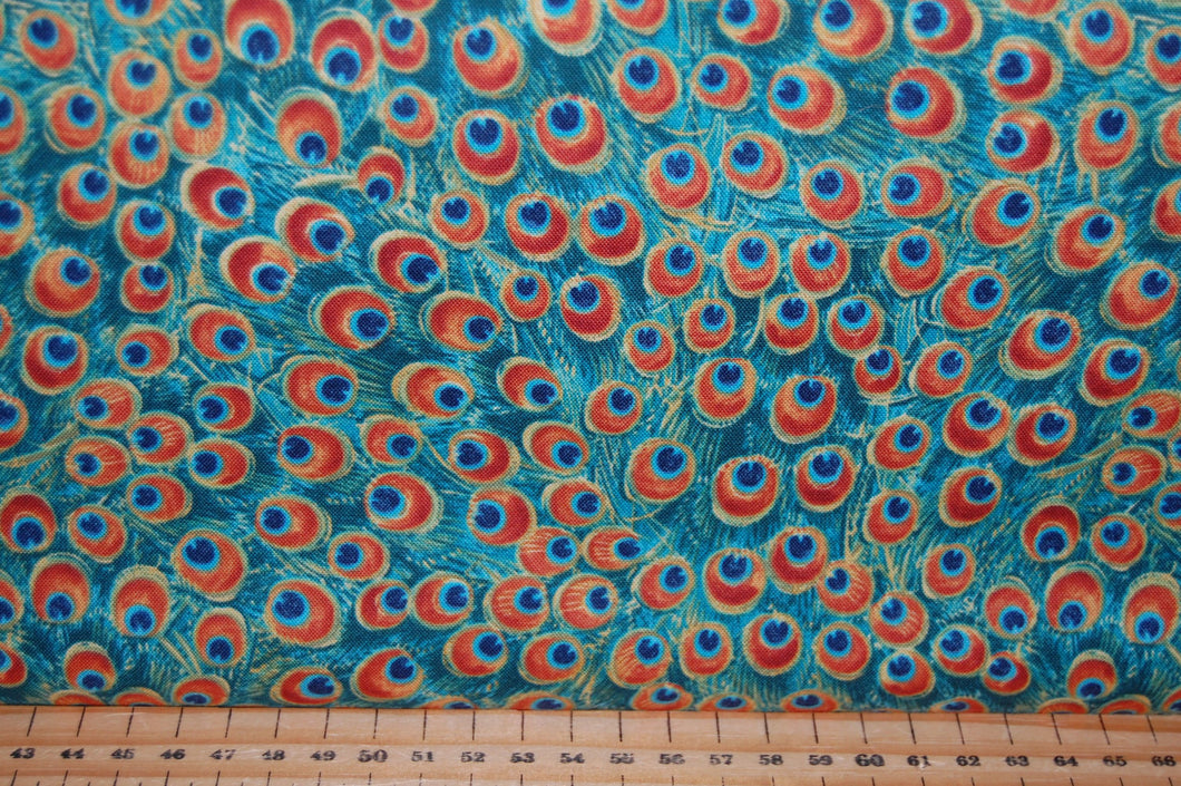 fabric shack sewing quilting sew fat quarter cotton quilt patchwork delphine corbin blank peacock pavillion tail eye feather panel blue (6)