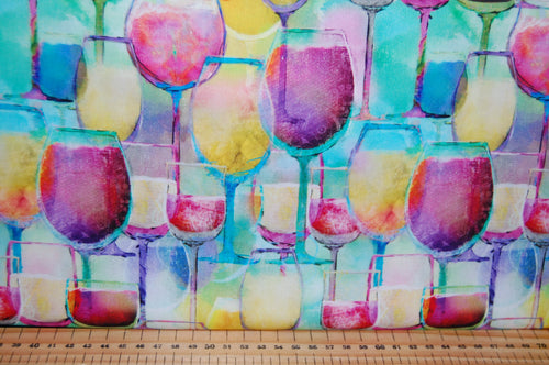 fabric shack sewing quilting sew fat quarter cotton quilt patchwork dressmaking 3 three connie haley wishes sip and & snip wine glasses drinking fun girls womens bottle happy hour panel digital (2)
