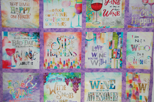 fabric shack sewing quilting sew fat quarter cotton quilt patchwork dressmaking 3 three connie haley wishes sip and & snip wine glasses drinking fun girls womens bottle happy hour panel digital