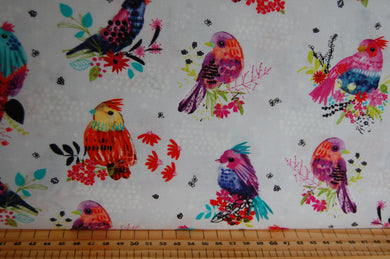 fabric shack sewing quilting sew fat quarter cotton quilt patchwork dressmaking 3 three wishes bright birds digital print feathers panel blossom navy lilac (3)