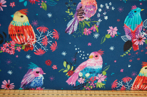 fabric shack sewing quilting sew fat quarter cotton quilt patchwork dressmaking 3 three wishes bright birds digital print feathers panel blossom navy lilac (4)