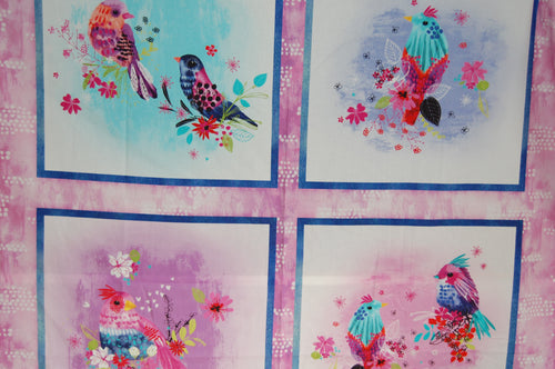 fabric shack sewing quilting sew fat quarter cotton quilt patchwork dressmaking 3 three wishes bright birds digital print feathers panel blossom navy lilac (9)