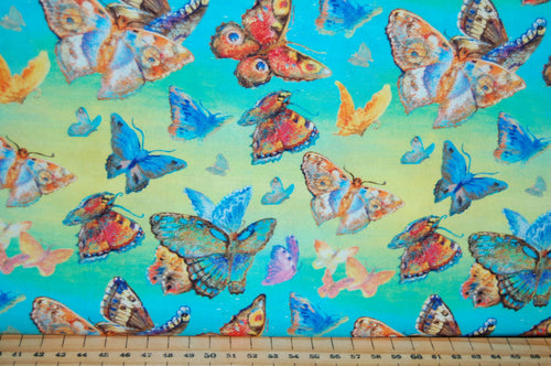 fabric shack sewing quilting sew fat quarter cotton quilt patchwork dressmaking 3 three wishes josephine wall wings of joy panel butterflies winged goddess red admiral wings butterfly (3)