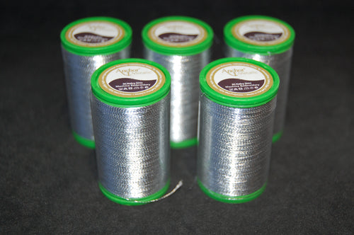 fabric shack sewing quilting sew fat quarter cotton quilt patchwork dressmaking anchor thread metallic 100 m metres silver No 40