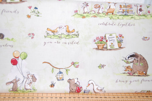 fabric shack sewing quilting sew fat quarter cotton quilt patchwork dressmaking anita jeram clothworks garden party mice mouse strawberry strawberries border print badger cake cupcke rabbit (4)