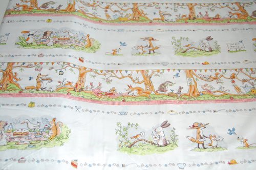 fabric shack sewing quilting sew fat quarter cotton quilt patchwork dressmaking anita jeram clothworks garden party mice mouse strawberry strawberries border print badger cake cupcke rabbit (2)