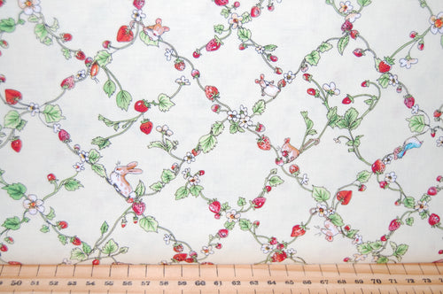 fabric shack sewing quilting sew fat quarter cotton quilt patchwork dressmaking anita jeram clothworks garden party mice mouse strawberry strawberries border print badger cake cupcke rabbit (6)
