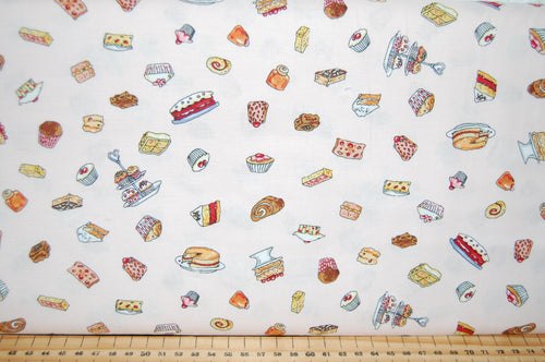 fabric shack sewing quilting sew fat quarter cotton quilt patchwork dressmaking anita jeram clothworks garden party mice mouse strawberry strawberries border print badger cake cupcke rabbit (3)