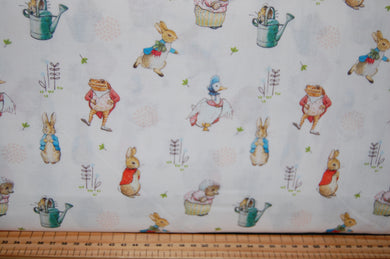 fabric shack sewing quilting sew fat quarter cotton quilt patchwork dressmaking beatrix potter peter rabbit panel flopsy mopsy jemima puddleduck mrs tiggywinkle jeremy fisher