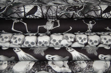 fabric shack sewing quilting sew fat quarter cotton quilt patchwork dressmaking blank ghoulish gatherings goulish glow in the dark halloween goth emo ghosts skulls dolls raven crow skeletons moon  (2)