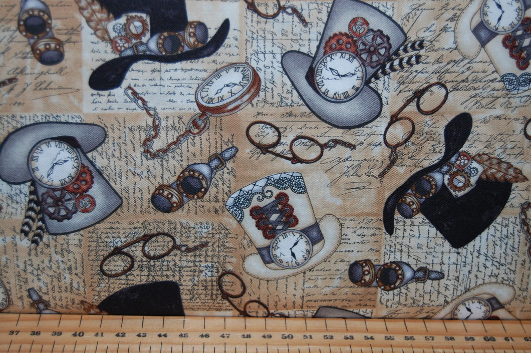 fabric shack sewing quilting sew fat quarter cotton quilt patchwork dressmaking blank tana mueller steam punk steampunk unknown voyage balloons cogs typewriter keys top hats corsets spectacles goggle (2)