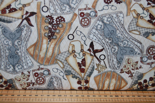 fabric shack sewing quilting sew fat quarter cotton quilt patchwork dressmaking blank tana mueller steam punk steampunk unknown voyage balloons cogs typewriter keys top hats corsets spectacles goggle (3)