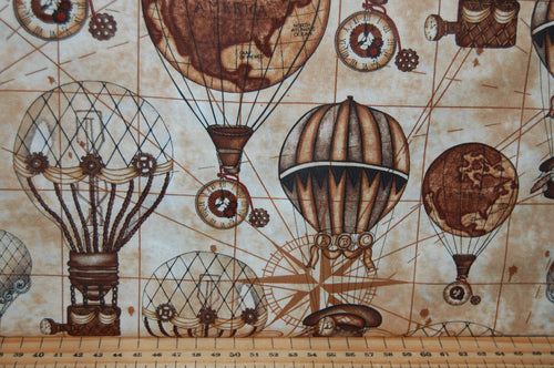 fabric shack sewing quilting sew fat quarter cotton quilt patchwork dressmaking blank tana mueller steam punk steampunk unknown voyage balloons cogs typewriter keys top hats corsets spectacles goggles pocket
