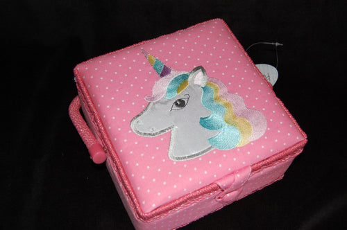 fabric shack sewing quilting sew fat quarter cotton quilt patchwork dressmaking box hobbygift tray small medium square unicorn magical mystical kids child (2)