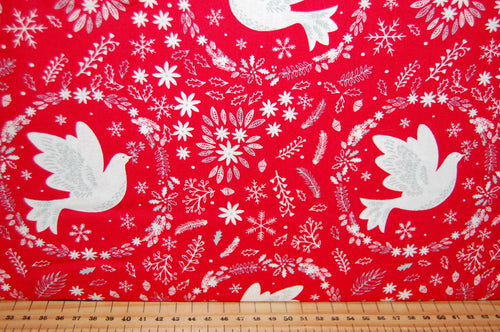 fabric shack sewing quilting sew fat quarter cotton quilt patchwork dressmaking christmas holiday peace on earth dove snowflake red grey floral flowers (2)