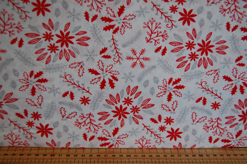 fabric shack sewing quilting sew fat quarter cotton quilt patchwork dressmaking christmas holiday peace on earth dove snowflake red grey floral flowers (3)
