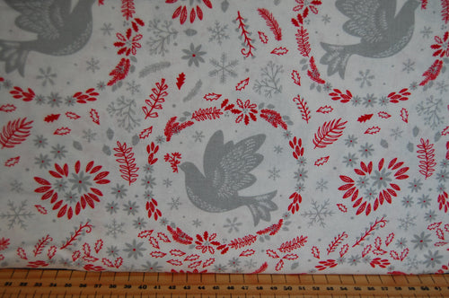 fabric shack sewing quilting sew fat quarter cotton quilt patchwork dressmaking christmas holiday peace on earth dove snowflake red grey floral flowers (5)