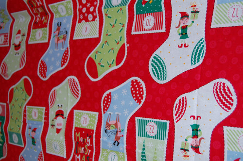 fabric shack sewing quilting sew fat quarter cotton quilt patchwork dressmaking christmas holidays xmas advent calendar stocking panel santa father elves mischief reindeer