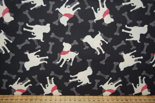 fabric shack sewing quilting sew fat quarter cotton quilt patchwork dressmaking clothworks dan di paolo wigglebutts paw prints black labrador puppy dog block love (5)