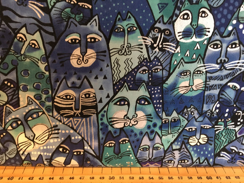 fabric shack sewing quilting sew fat quarter cotton quilt patchwork dressmaking clothworks laurel birch feline frolic cats kitten pussy cat ethnic abstract boho panel pillow cushion (8)