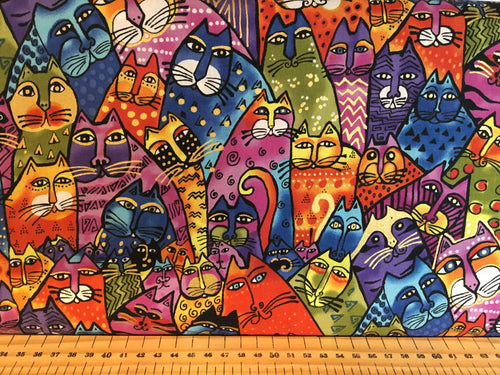 fabric shack sewing quilting sew fat quarter cotton quilt patchwork dressmaking clothworks laurel birch feline frolic cats kitten pussy cat ethnic abstract boho panel pillow cushion (11)