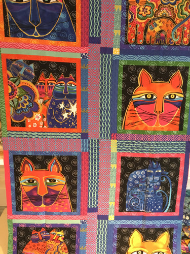 fabric shack sewing quilting sew fat quarter cotton quilt patchwork dressmaking clothworks laurel birch feline frolic cats kitten pussy cat ethnic abstract boho panel pillow cushion (5)