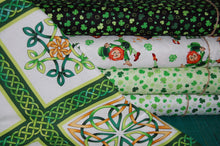 fabric shack sewing quilting sew fat quarter cotton quilt patchwork dressmaking colour color principle henry glass irish folk st saint patricks paddy's day leprechaun pixie luck shamrock pot gold (8) celtic knot